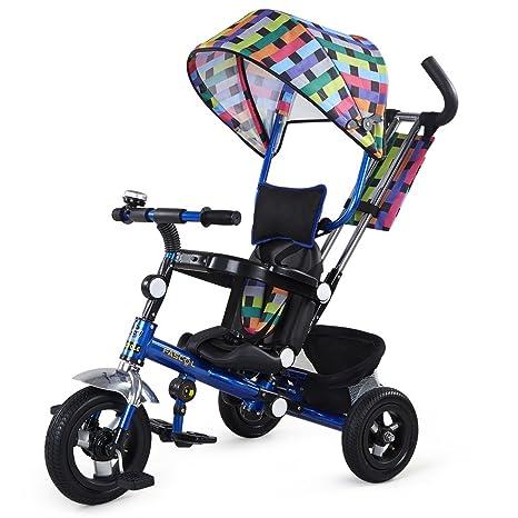 fascol® 4 en 1 portátil plegable triciclo niños carrito cochecito de bebé inflable Niños 3