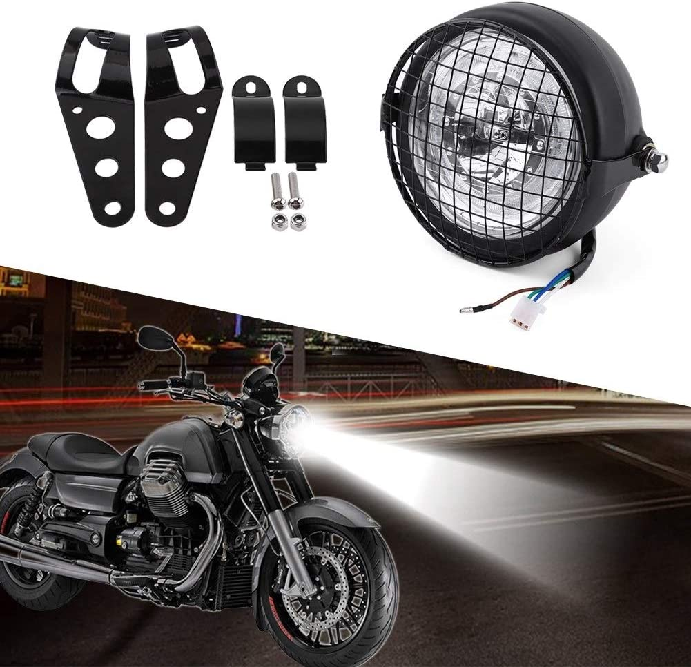 6.5 Motorcycle Headlight LED Headlamp Grill Side Mount Cover With Bracket for Cafe Racer LED Headlight