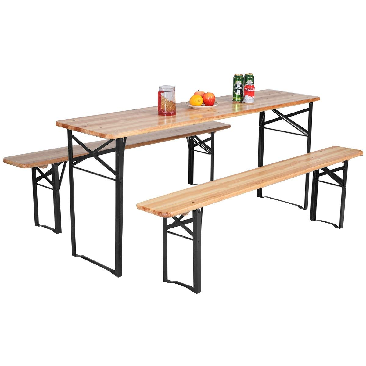 Cypress Shop Folding Wooden Picnic Table Camping Table Resting Dining Table Portable BBQ Picnic Benches Table Set Garden Yard Park Barbecue Party Dining Camping Table RV Trips Party Set of 3
