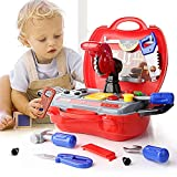 Kids Tool Set Pretend Play Construction Accessories Children Repair Tools Educational Toys kit with 19 pcs for Boys Age 3, 4, 5, 6 Year Olds