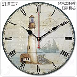 Stylish, Silent Wall Clock Home,Kitchen,OfficeMediterranean Retro American Large Living Room Wall Clock European Pastoral Simple Classical Decoration Creative Mute Lighthouse Wall Clock, 12 inches