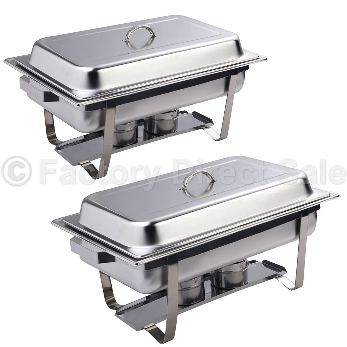 DPThouse 2 Pack Rectangular Chafing Dish Stainless Steel Full Size 9 Quart