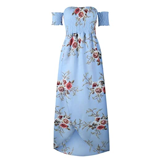 68ae4ba6d7e084 WILLTOO Womens Summer Floral Maxi Dress Boho Sexy Off Shoulder Long Dress  Large Size (Blue