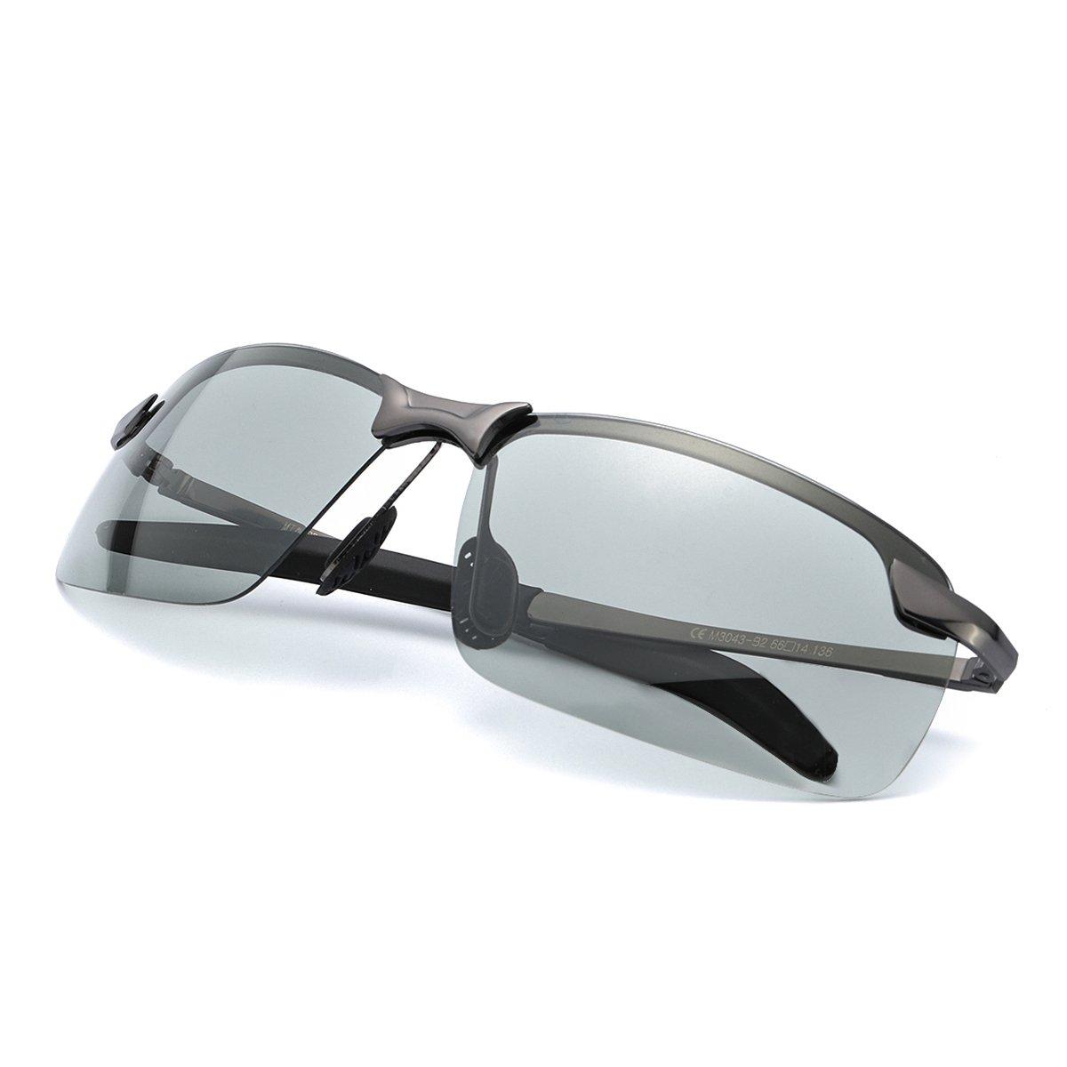 Mens Photochromic Sunglasses Polarized for Driving Rectangular Frame with 100% UVA UVB Protection
