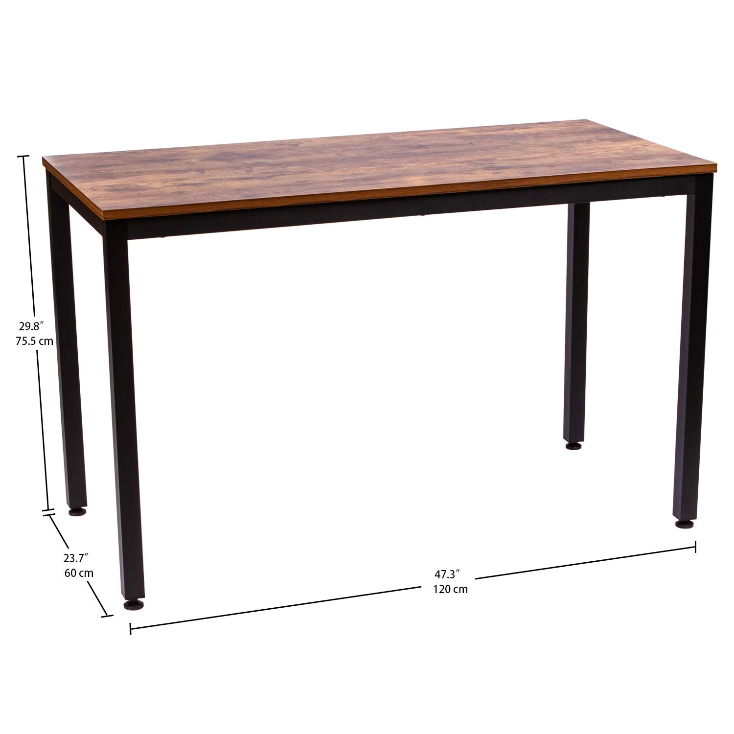 IRONCK Computer Desk, 47'' Office Desk with 0.7'' Thicker Tabletop 1.6'' Sturdy Metal Frame, Simple Study Table, Industrial Style Desk for Home Office, Matt Brown by IRONCK (Image #3)