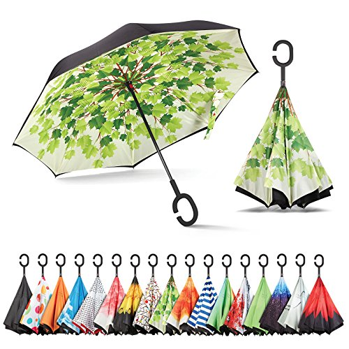 Sharpty Inverted Umbrella, Umbrella Windproof, Reverse Umbrella, Umbrellas for Women with UV Protection, Upside Down Umbrella with C-Shaped Handle (Green Shade) ()