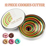 12 Piece Round Cookie Cutter Set, HULISEN 18/8 Stainless Steel Baking Metal Ring Molds, Colorful Dough Cutters, Pastry Donut Doughnut Muffins Fondants Biscuit Cutter Set