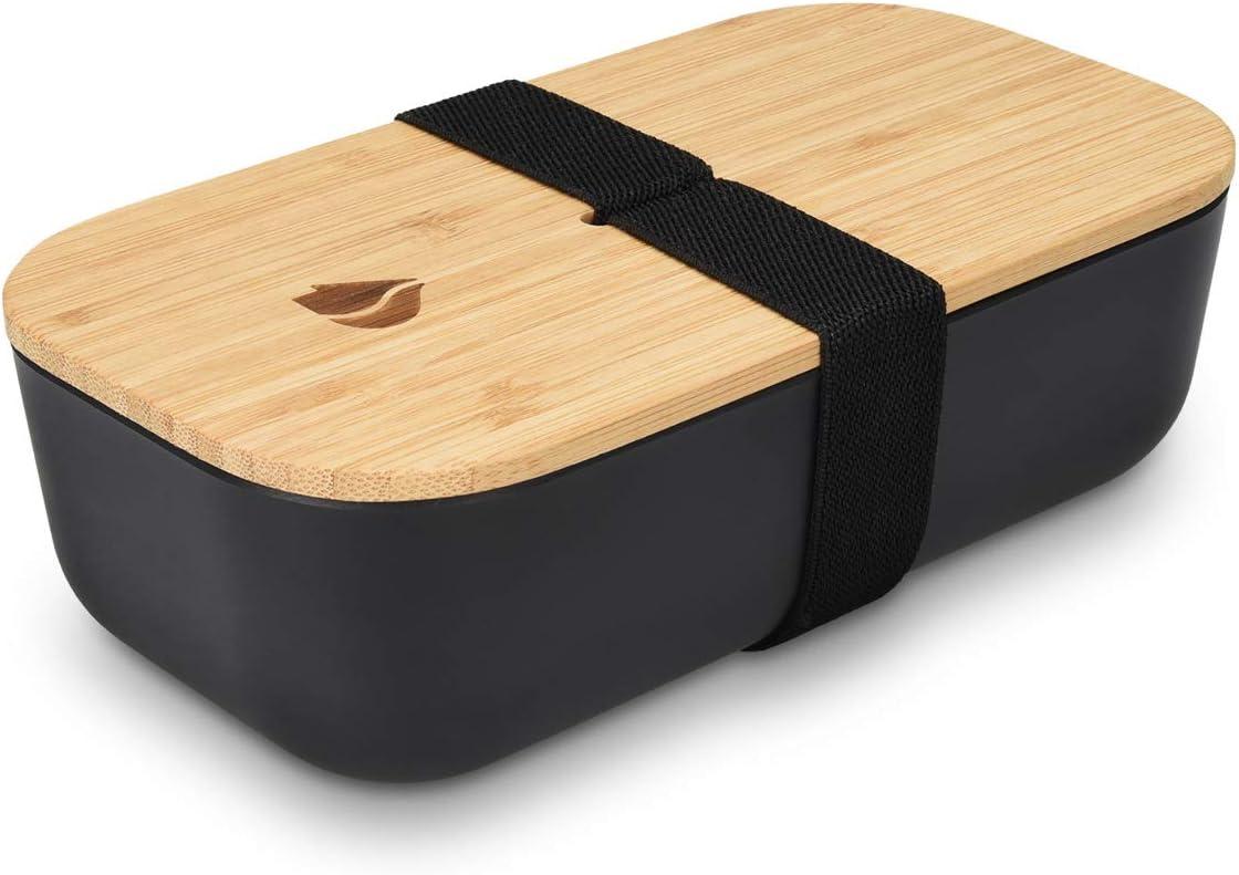 Navaris Recipiente hermético de Comida - Fiambrera Estilo bento con Tapa de bambú - Contenedor ecológico para Colegio o Trabajo en Negro 700ML