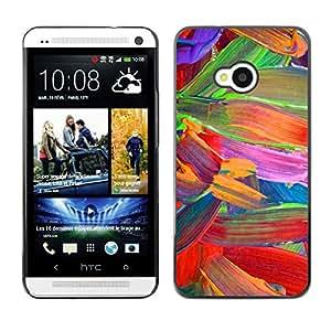 TopCaseStore / la caja del caucho duro de la cubierta de protección de la piel - Floral Vibrant Colors Parrot - HTC One M7