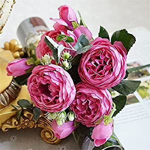 Rvbyjfg Rose Peony Artificial Silk Flower Bouquet Family Party Wedding Decoration Fake Flower 3 4