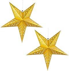 2x LED Weihnachts Hänge Lampen Decken Stern gold Wohnraum X-MAS Fenster Schmuck