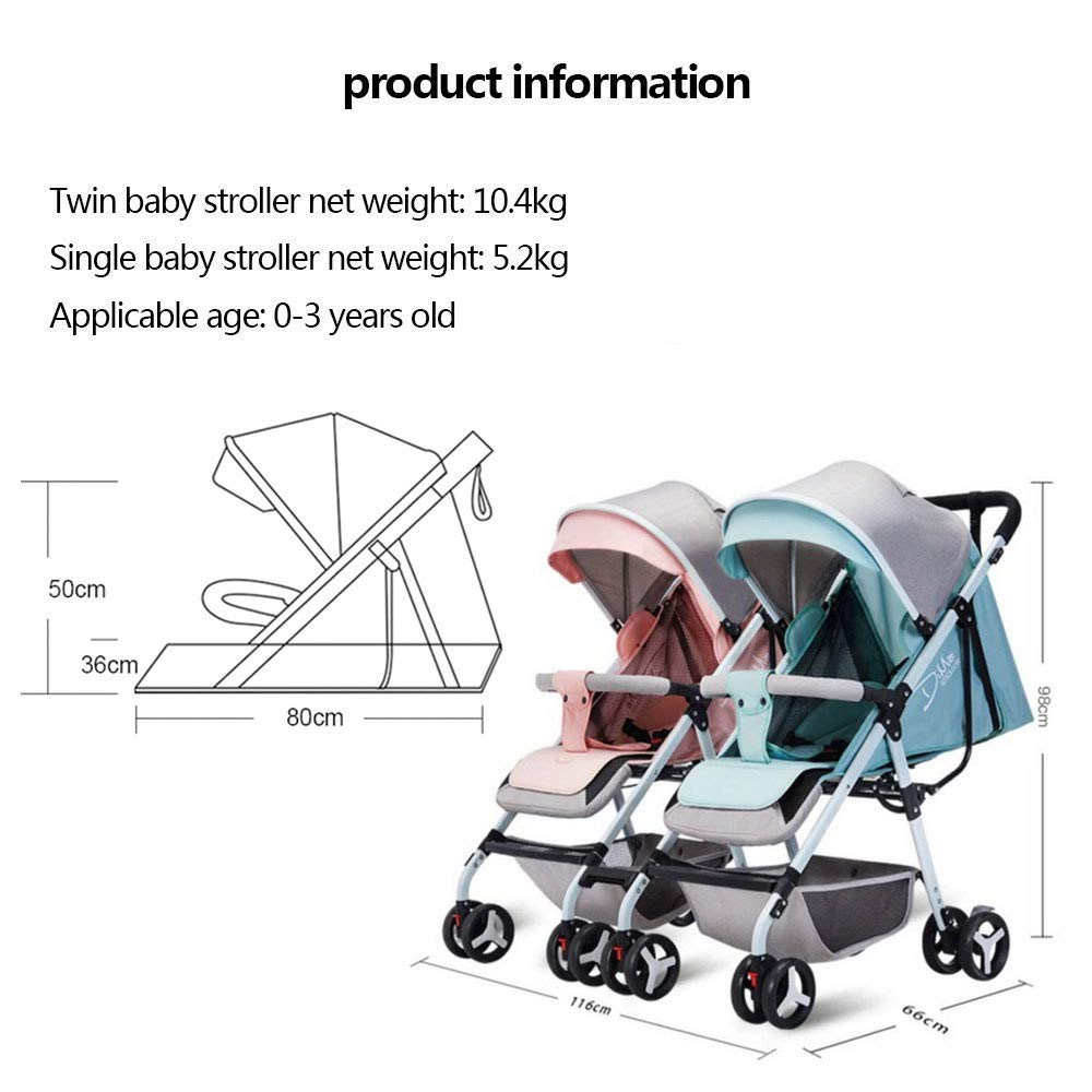 BO LU Double Strollers Double Seats for Twins Foldable Can Sit and Lie with Awning Adjustable Backrest by BO LU (Image #5)