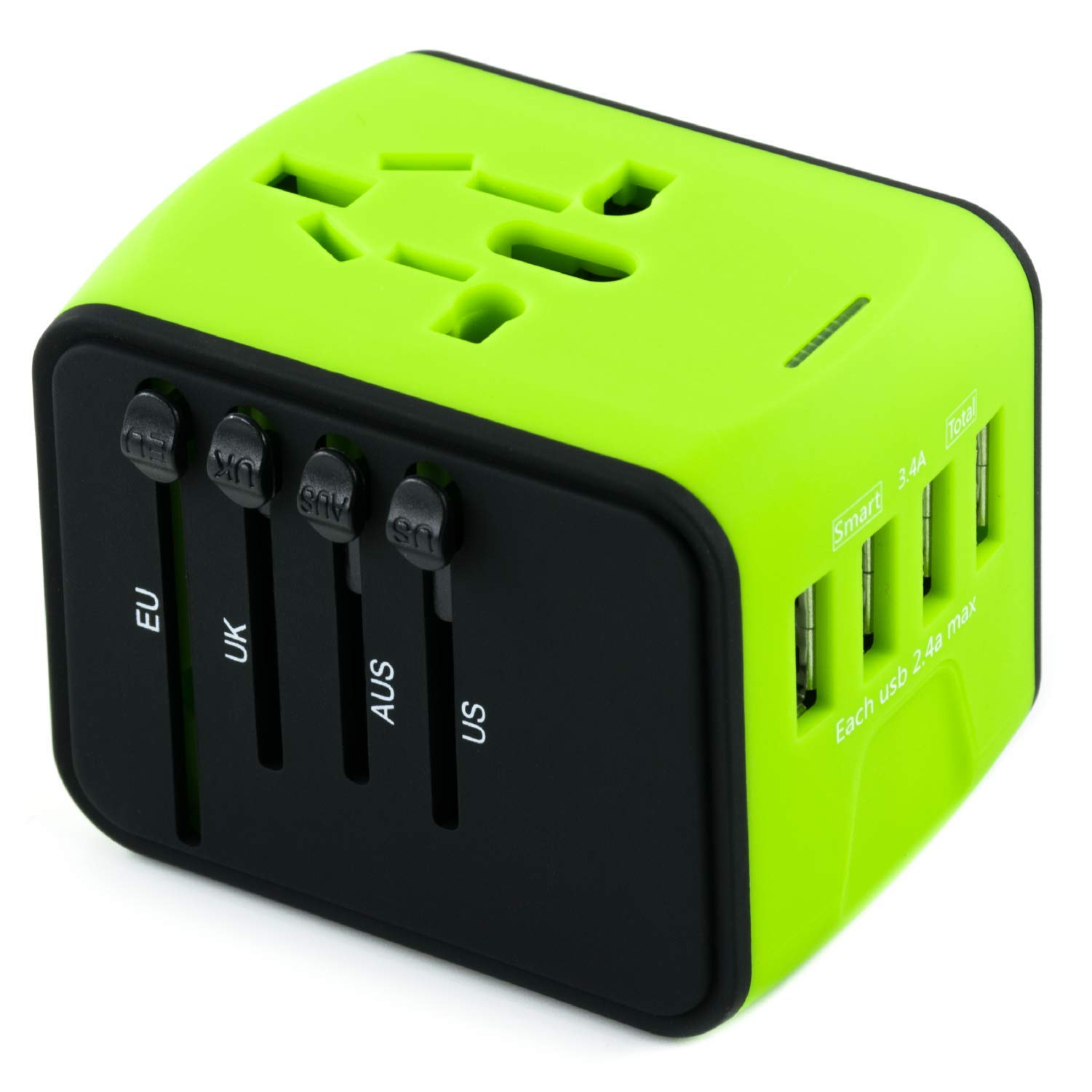 International Travel Adapter Universal Power Adaptor European Plug Converter Worldwide All in One with 2.4A 4 USB Ports and AC Socket US to Europe Plug Adapters for UK USA American EU AUS Asia (Green) by Limechoes