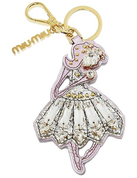 Amazon.com: MIU MIU Ballerina - Llavero de piel metálica ...