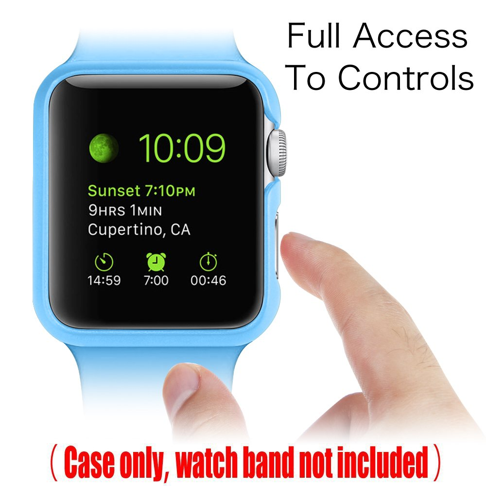 [3 Color Pack] Fintie for Apple Watch Case 38mm, Slim Lightweight Polycarbonate Hard Protective Bumper Cover for All Versions 38mm iWatch Series 3 (2017), Series 2 1 Sport & Edition - Multi Color C by Fintie (Image #4)