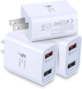 QC 3.0 Wall Charger, Costyle 3 Pack 30W Dual 2 Ports Adaptive Fast Charging Power Adapter (Quick Charge QC 3.0 & 5V 2.4A) Compatible for iPhone 11 XR X 8 Plus, Samsung Note 9 8,HTC 11 10,Tablet(White)