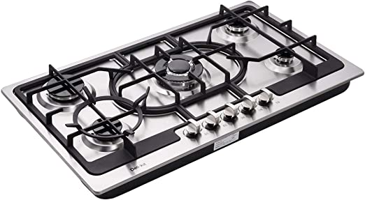 Deli-Kit DK258-A04 34 inch Gas Cooktop gas hob stovetop 5 burners LPG//NG Dual Fuel 5 Sealed Burners Stainless Steel 5 Burner Built-In gas hob 110V AC pulse ignition gas stove