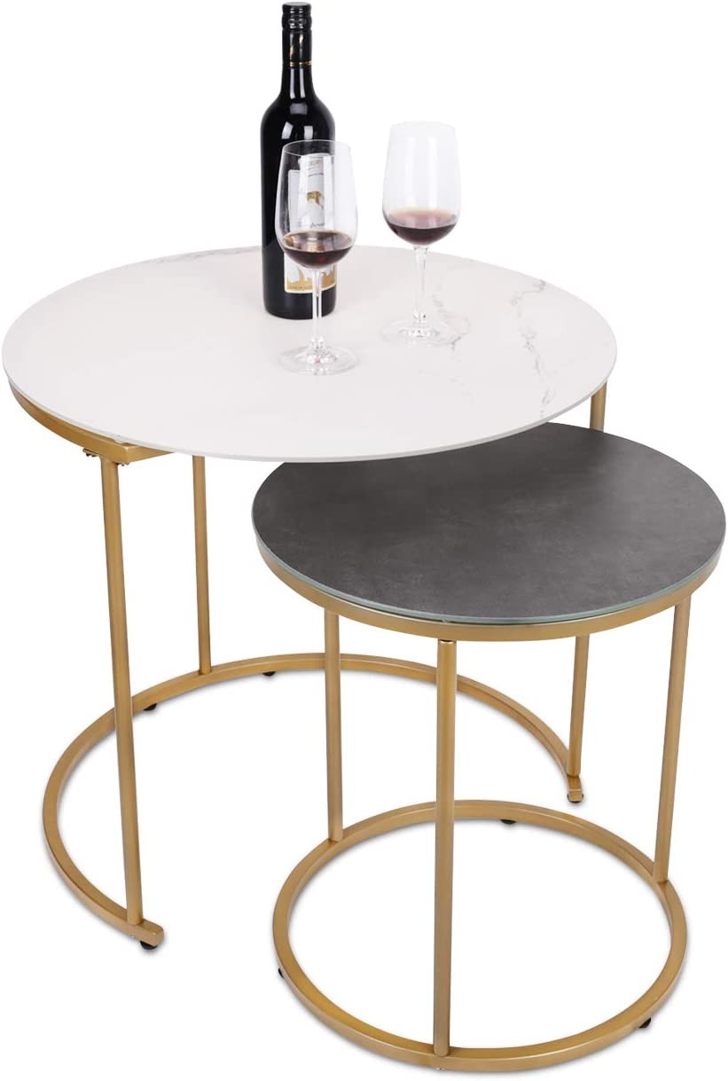 Modern Nesting Side Coffee Tables Set of 2, Tempered Glass with Glazed Marble Texture & Dark Gray Finish Top Waterproof Outdoor and Indoor End Tables, Stacking Table, ET219AB-WG: Kitchen & Dining