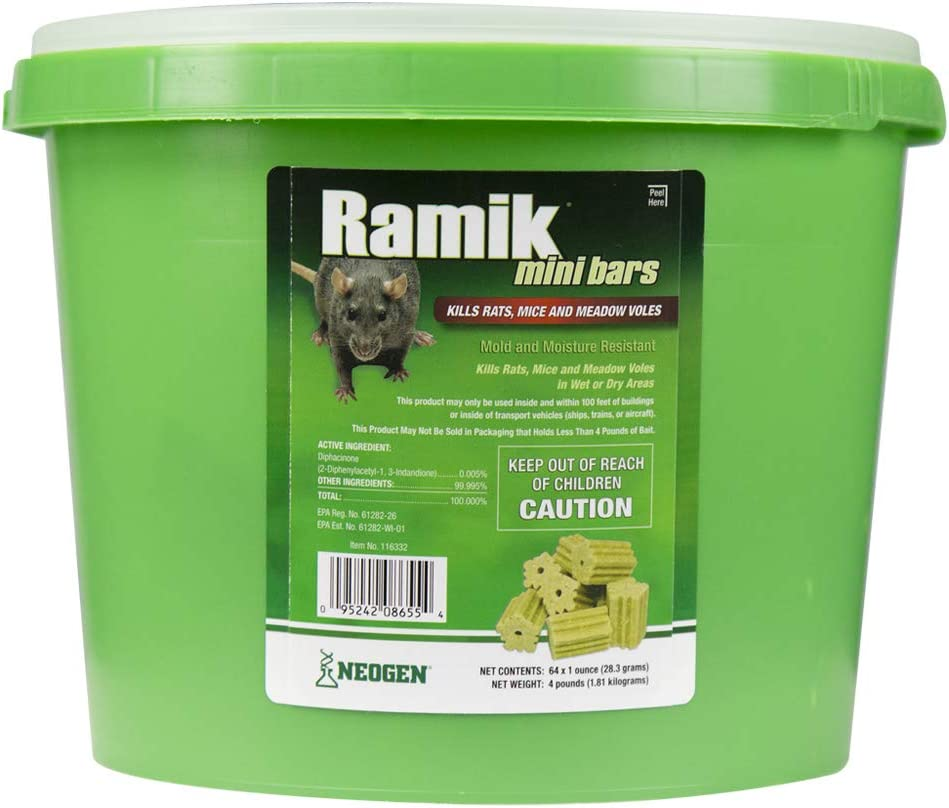 Neogen Ramik Fish Flavored Weather Resistant Rodenticide Mini Bars, 4 lb. Pail