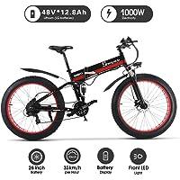 1000W ebike Fat Tire Bici elettrica Pieghevole Mountain Bike 26 'Full Suspension 48V12AH 21 Pedali Assist