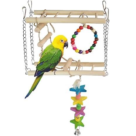 Loro Swing escalera doble pájaro juguete Masticar juguete de ...