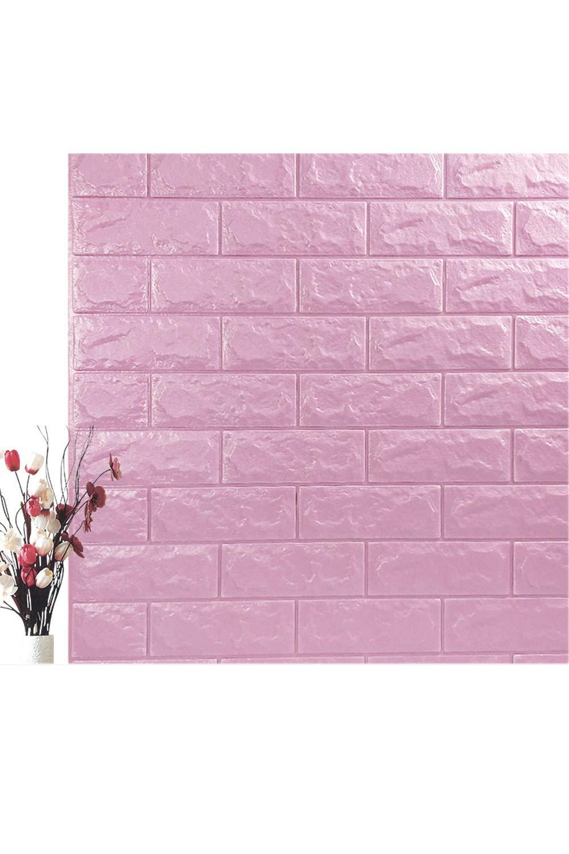 SMTD 10PCS Foam 3D Ziegel Tapete Wohnzimmer Dekor Ziegelstein Selbstklebend Tapete DIY Schaum Panel Anti-Kollision Wandaufkleber Weiche Ziegel Standard Purple
