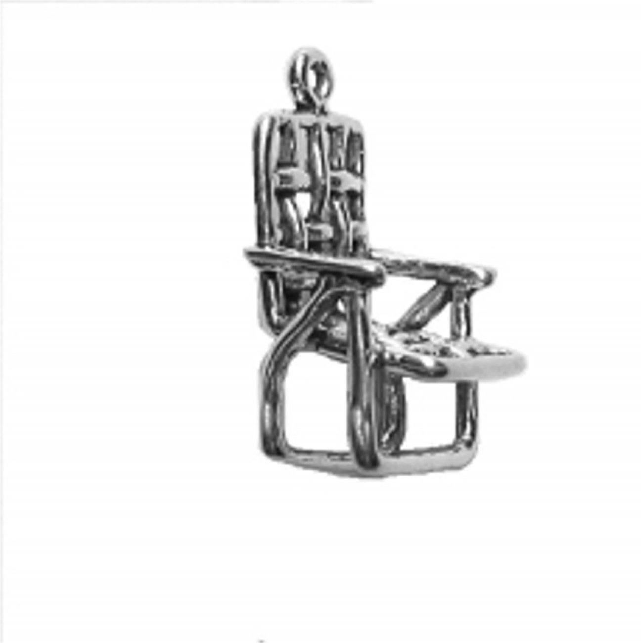 Sterling Silver Girls .8mm Box Chain 3D Open Lawn Chair Pendant Necklace