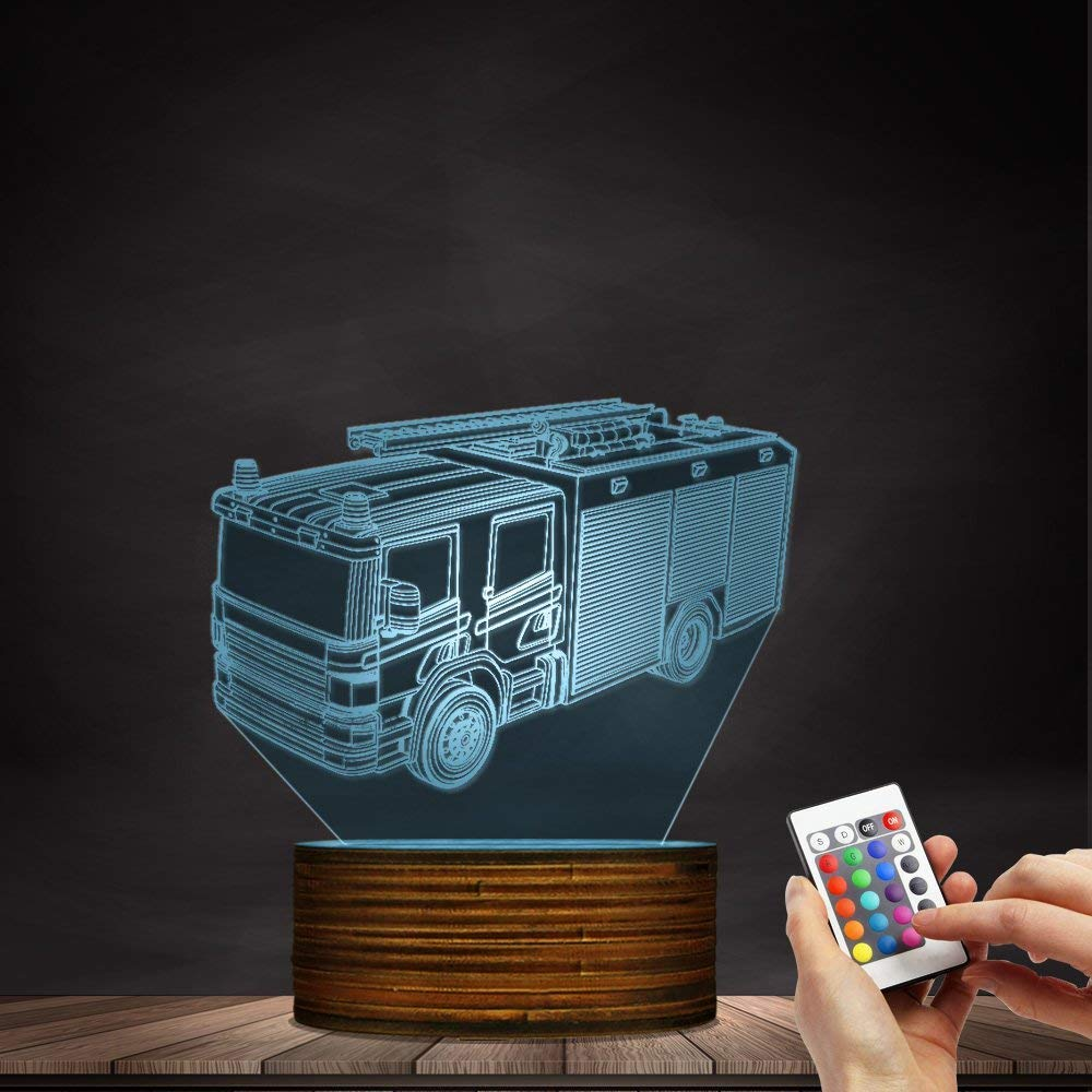 Novelty Lamp, 3D Led Lamp Optical Illusion Fire Truck Night Light 16 Colors with Remote Control Room Decor Switch Remote - Gift for Birthday Christmas Child Adult,Ambient Light by LIX-XYD (Image #5)