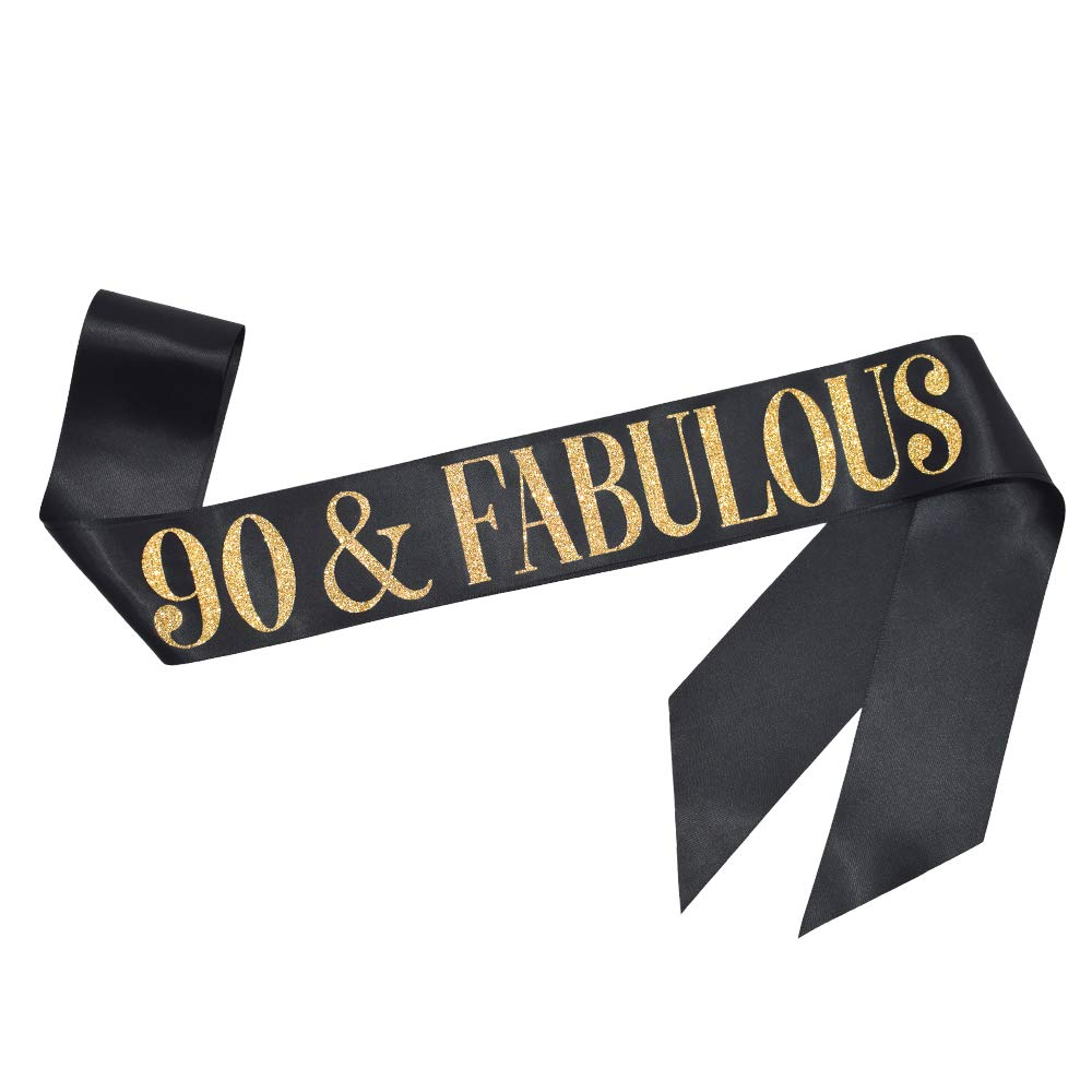 Black Sash with Gold Glitter Lettering Supplies and Decorations ADBetty 90th Birthday Sash 90 Birthday Gifts Party Favors 90 and Fabulous Sash