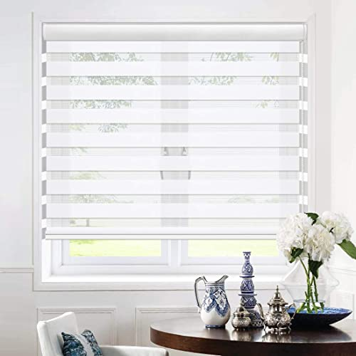 Keego Zebra Blinds White Dual Layer Roller Shades Modern Light Filtering Sheer or Privacy Shade