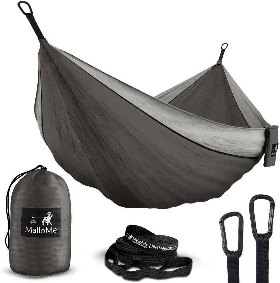 MalloMe Double Single Portable Camping Hammock – Parachute Lightweight Nylon with Hammok Tree Straps Set- 2 Person Equipment Kids Accessories Max 1000 lbs Breaking Capacity – Free 2 Carabiners