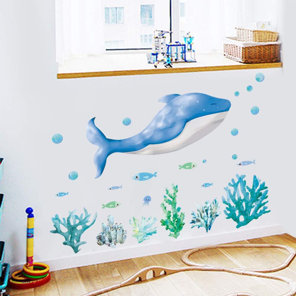 Woodland 27 x 22 Blue Shark Under Sea Coral Fish Deep Sea Removable Vinyl Wall Decals Stickers for Children Room Bathroom Nursery