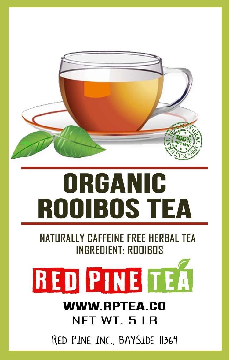 Organic Rooibos Tea Red Bush Tea, Aspalathus linearis, Decaffeinated Caffeine Free - Premium Loose Leaf Tea (5LB)