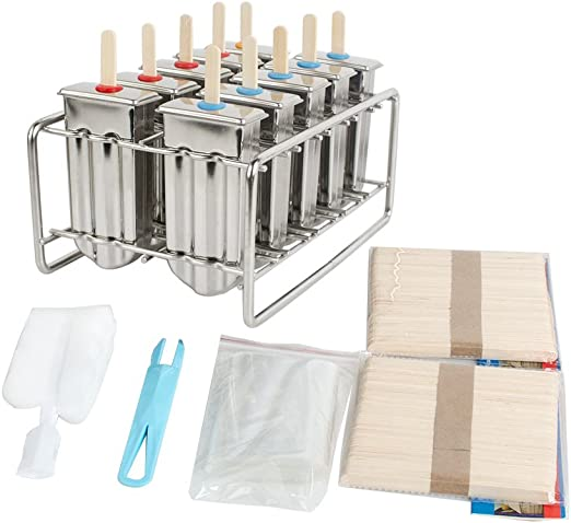 6 Ice Pop Makers 12 Silicone Seals 30 Reusable Bamboo Sticks ecozoi Eco-Safe Stainless Steel Ice Popsicle Moulds And Rack 1 Rack