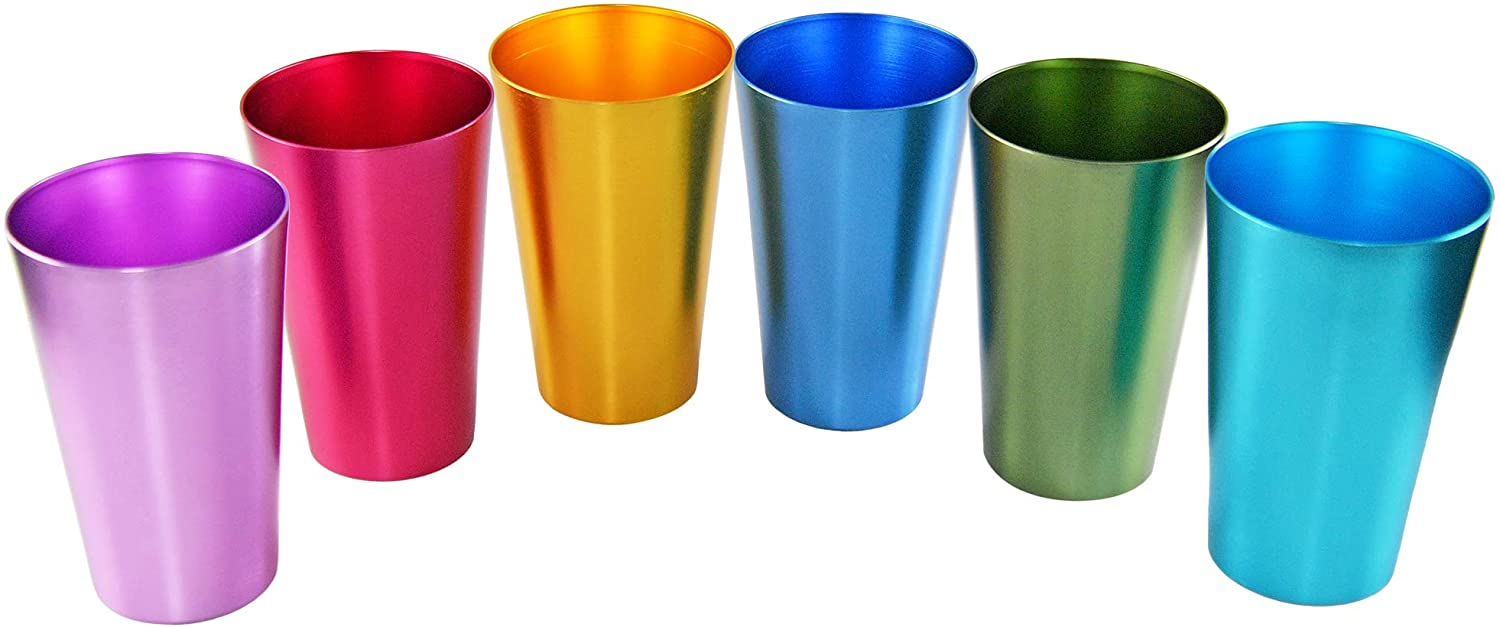 HOME-X Colorful Aluminum Drinking Cups Set of 6, Colored Metal Tumblers, Shatter Resistant, Stackable, 6 Metallic Colors - 16 Ounces