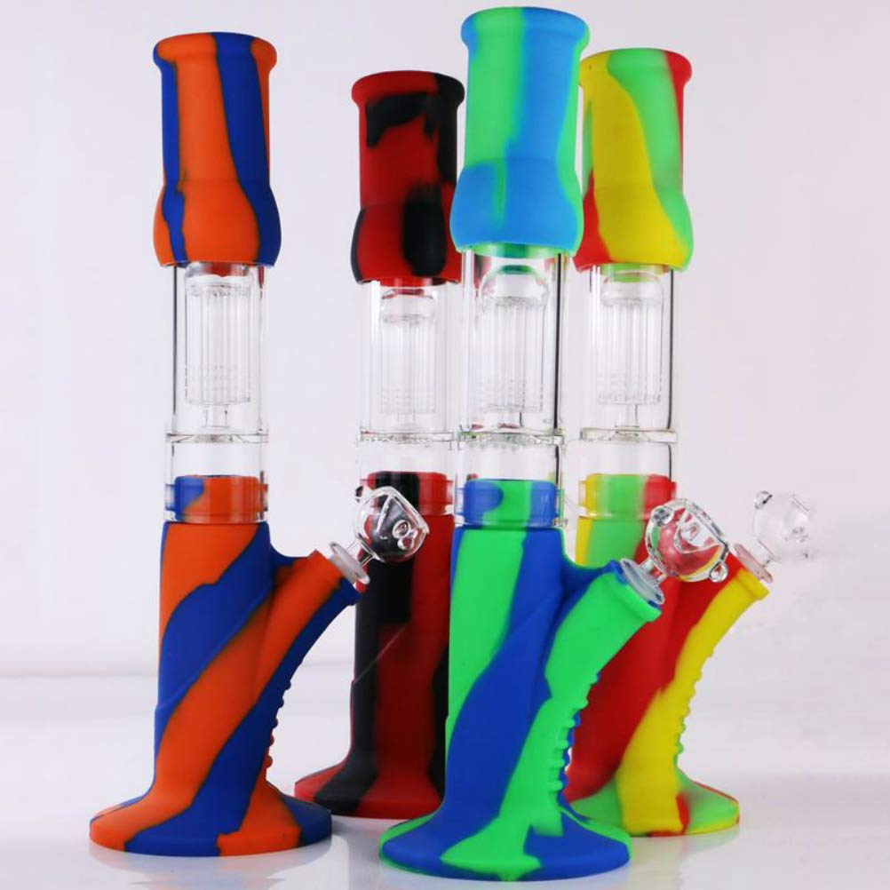 XinFei Straight Rubber Glass Smokeless Water Pipe Collectibles Tall 11.5 Inch