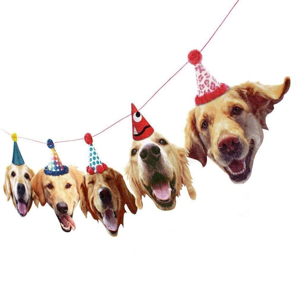 Golden Retriever Dogs Birthday Party Banner Decoration
