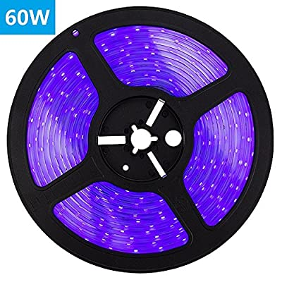 SUNVIE LED UV Black Light Strip, 60 Watts 16.4Ft/5M 2835 SMD 300LEDs Flexible Waterproof IP65 LED Light Strip, DC 24V 3A Power Supply and Free Kit