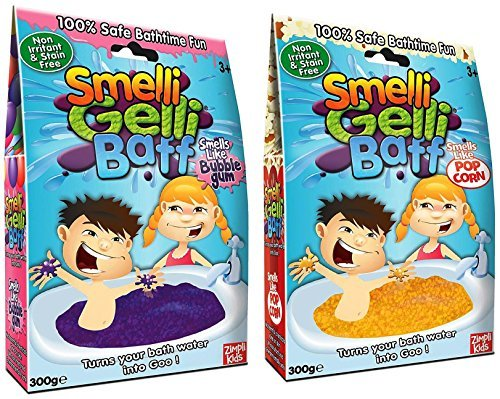Smelli Gelli Baff 2 Pack Bundle: Bubblegum and Popcorn by Zimpli Kids