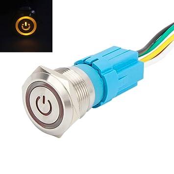 19mm Druckschalter Einbauschalter 3 Pin Edelstahl Wasserfest selbstsichernd 12V