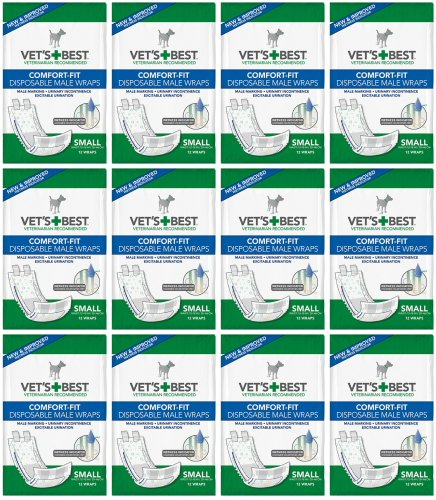 Vet's Best Comfort Fit Disposable Male Dog Diapers | Absorbent Male Wraps with Leak Proof Fit | Small, 12 Count (144ct - Small) by Vet's Best