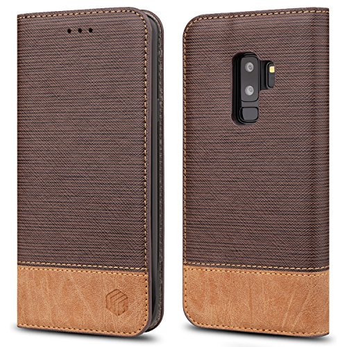 (for Galaxy S9 Plus Case,WenBelle [Blazers Series] Stand Feature,Double Layer Shock Absorbing Premium Soft PU Color Matching Leather Wallet Cover Flip Cases for Samsung Galaxy S9 Plus (Brown))