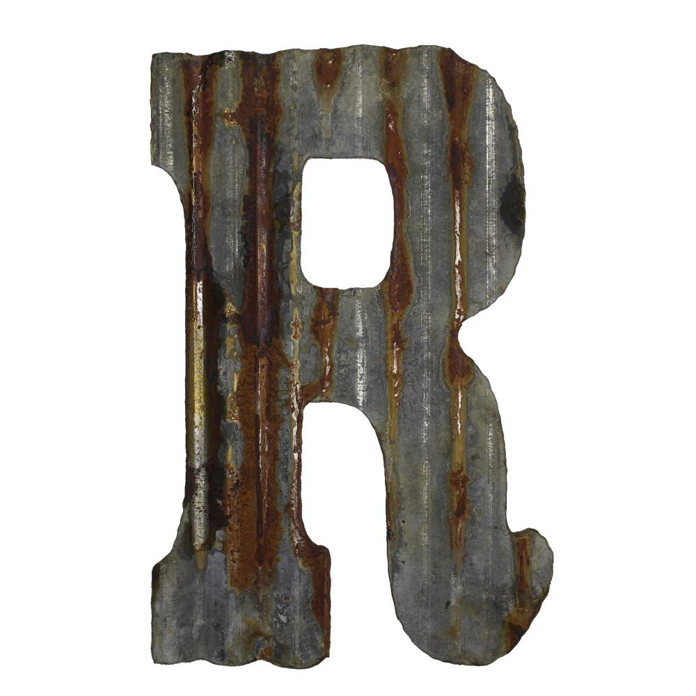 "Farmhouse Rustic 12"" Wall Decor Corrugated Metal Letter -R"