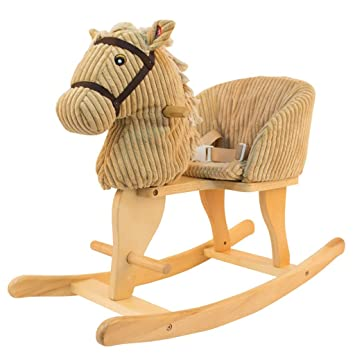 Amazon.com : Childrens Wooden Horse Rocking Horse Solid Wood Baby ...