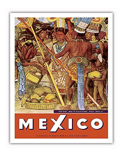 Mexico - Aztec Indians - Detail from Mural - National Palace (Palacio Nacional) - Mexico City - Vintage World Travel Poster by Diego Rivera c.1950s - Fine Art Print - 11in x 14in (Diego Rivera Mural)