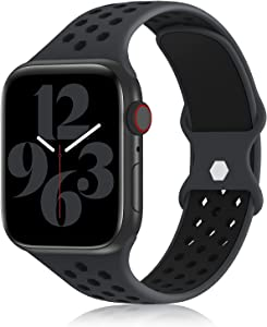 YAXIN Sports Band Compatible with Apple Watch Bands 38MM 40MM 42MM 44MM Women and Men,Breathable Soft Silicone Replacement Strap Double-color Air Holes Bands for iWatch Series 6 5 4 3 2 13 SE