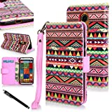 Moto X case, Moto X (2nd Gen.) Case, E LV Motorola Moto X+1 Flip Case Cover - Deluxe PU Leather Flip Wallet Case Cover for Moto X 2nd Generation Case for Google Motorola Moto X with 1 E LV Stylus - TRIBAL