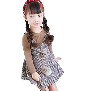 Amazon.com  Franterd 2PC Baby Girls Tops+Plaid Dress Set 1617a37fe