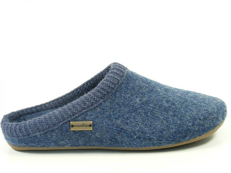 Haflinger Schuhe Damen Herren Hausschuhe Pantoffeln Wolle Everest Classic 481002, Schuhgröße:38;Farbe:Blau