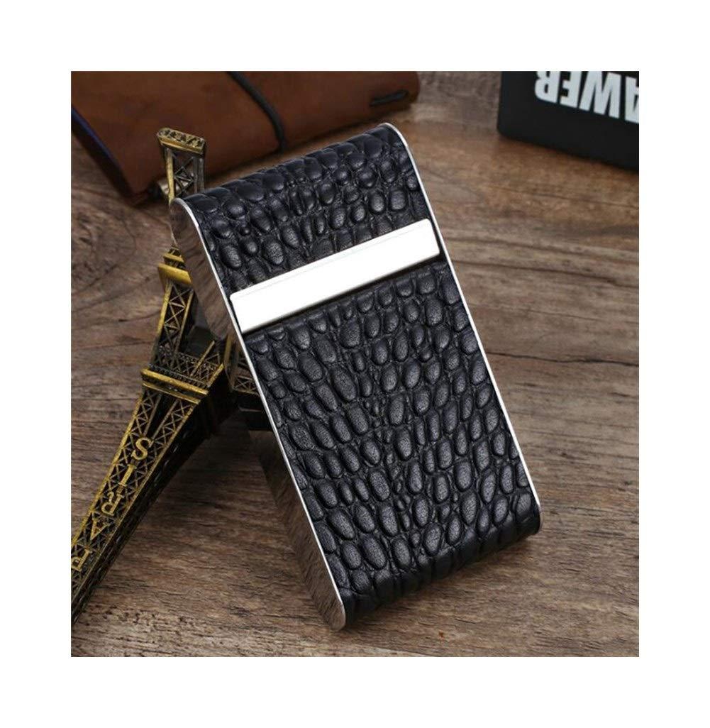Jinfengtongxun Cigarette Box, Leather Stainless Steel Lengthened 97mm Ladies Fine Smoke Long Cigarette Box Creative Portable Ultra-Thin Cigarette Case 20 Sticks, Black (Color : Black2, Size : 9.7cm)